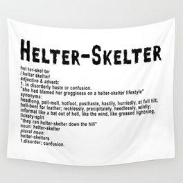 Helter Skelter (black on white) Wall Tapestry