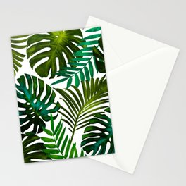 Tropical Dream, Jungle Nature Botanical Monstera Palm Leaves Illustration, Scandinavian Painting Stationery Cards