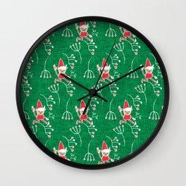 Santa Little Helper Green #Holiday #Christmas Wall Clock