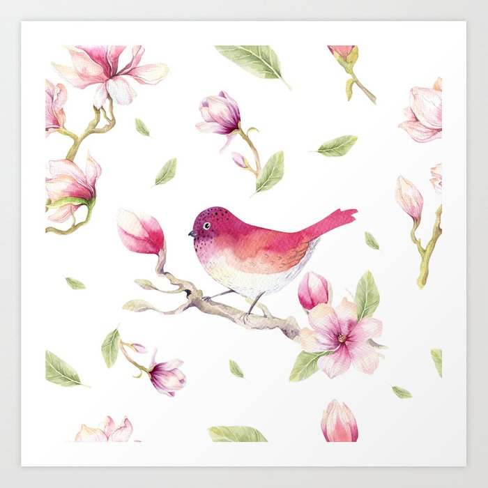 Sunday's Society6 | Spring art print with bird and flowers