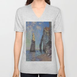 Claude Monet's The Cliffs at Etretat Unisex V-Neck