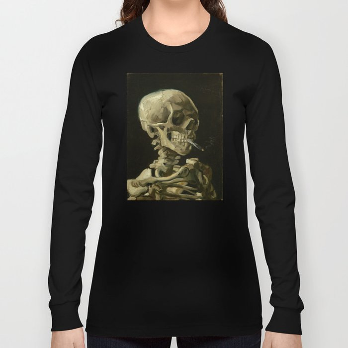 Vincent van Gogh - Skull of a Skeleton with Burning Cigarette Long Sleeve T-shirt