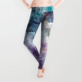 Turquoise & Purple Quartz Crystal Leggings