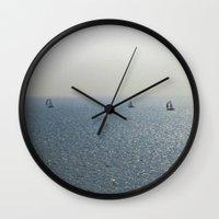 sailing Wall Clocks featuring Sailing by David Pyatt