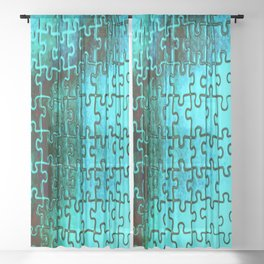 Blue puzzle design Sheer Curtain