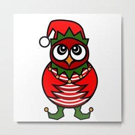 Christmas Elf Owl Metal Print