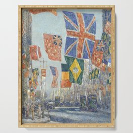 Avenue of the Allies, Great Britain, 1918 by Childe Hassam Serving Tray
