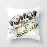 pugs Throw Pillows featuring Cute pugs by Anna Syroed