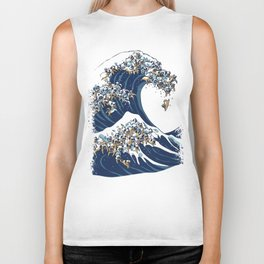 The Great Wave of Pug Biker Tank