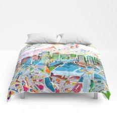boston city skyline map Comforters