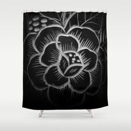 Flower carved on wood in black and white pattern Shower Curtain