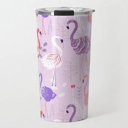 Flamingo Pink Purple Folk Pattern Travel Mug