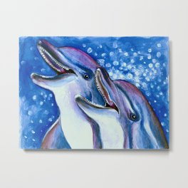 Happy Tooth Dolphins Metal Print
