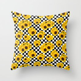 Yellow Sunflower Floral with Black and White Checkered Summer Print Throw Pillow