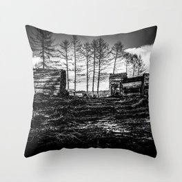 Poltery Site (Wood Storage Area) After Storm Victoria Möhne Forest bw Throw Pillow