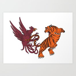 Cocks vs Tigers Art Print
