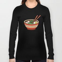 Ramen Bowl Pattern in Orange Long Sleeve T-shirt
