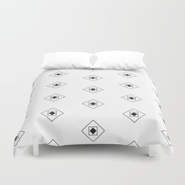 Black & White Rhombus & Squares Pattern Duvet Cover