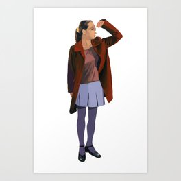 A woman with a red coat Art Print