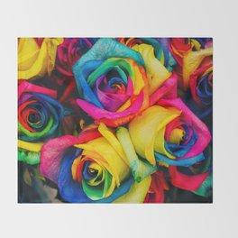 Rainbow Roses Throw Blanket