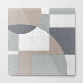 Geometric Intersecting Circles and Rectangles in Neutral Colors Metal Print