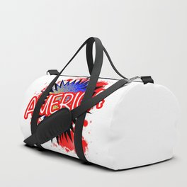 America Red White And Blue Cartoon Exclamation Duffle Bag