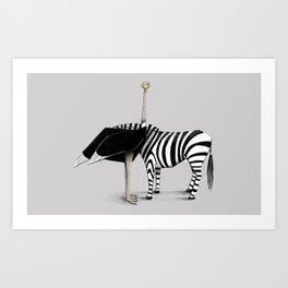 La zebra dal collo di struzzo Art Print