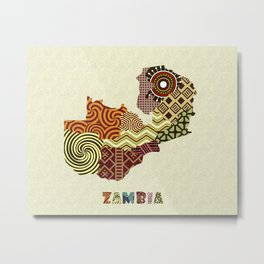 Zambia Map Metal Print