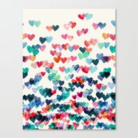 watercolor Canvas Prints featuring Heart Connections - watercolor painting by micklyn