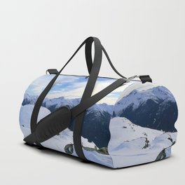 The snowy rocks at mountain tops Duffle Bag
