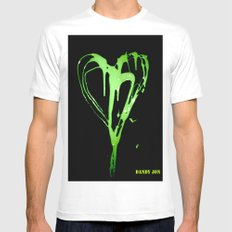 Painted Heart White SMALL Mens Fitted Tee