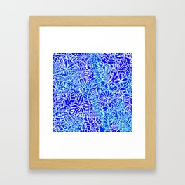 Jungle Garden, Blue Framed Art Print