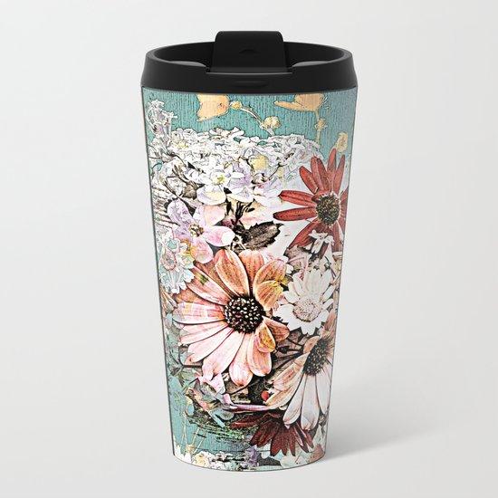 Pastel Bohemian Floral Metal Travel Mug