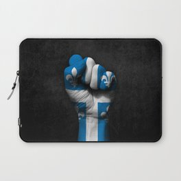 Quebec Flag on a Raised Clenched Fist Laptop Sleeve