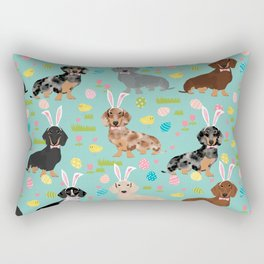 Dachshund easter spring dog costume pet portrait dog breed doxie Rectangular Pillow