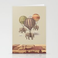 graphic Stationery Cards featuring Flight of the Elephants  by Terry Fan