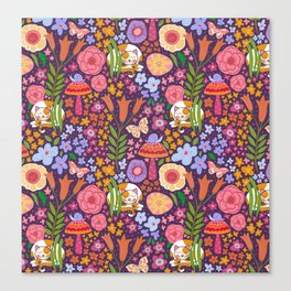 Calico Cat Garden Canvas Print