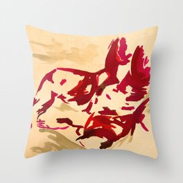 Nude in red Throw Pillow