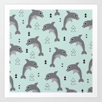 Mint dolphin geometric sea life illustration design  Art Print