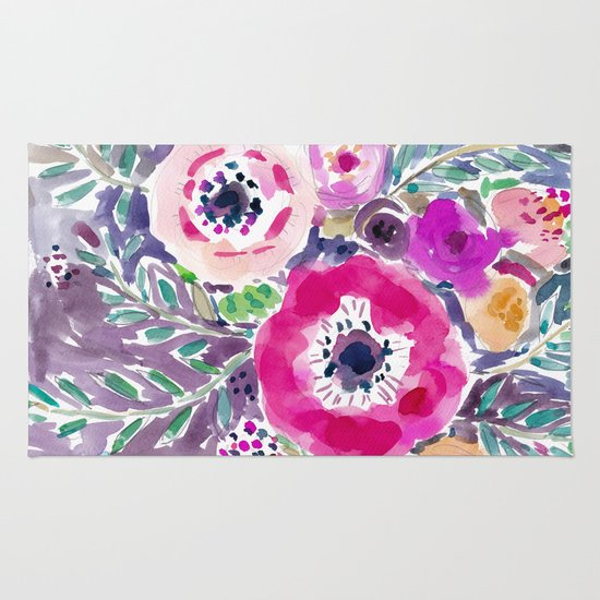 RED ANEMONE SPRAY FLORAL Rug By Barbarian // Barbra