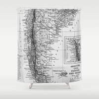 argentina Shower Curtains featuring Vintage Map of Argentina (1911) by BravuraMedia