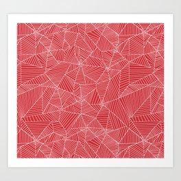 Spiderwebs - Webs on red background Art Print