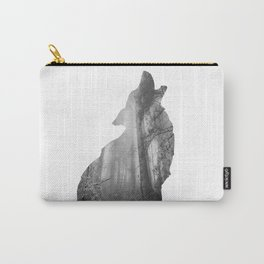 Wolf Silhouette | Forest Photography | Black and White Carry-All Pouch