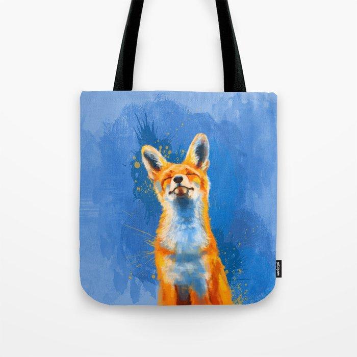 Happy Fox on blue background, inspirational animal art Tote Bag