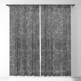 Circular B&W inverted / Lineart texture of circles Sheer Curtain