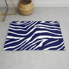 ZEBRA ANIMAL PRINT BLUE AND WHITE 2019 Rug