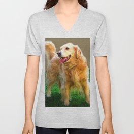 Golden Retriever - Happy Dog Unisex V-Neck
