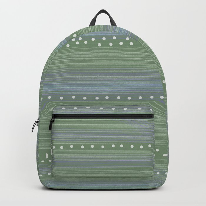 Green with Stripes and Dots Backpack