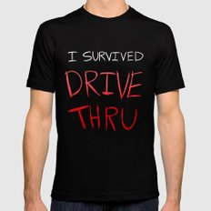 I survived DRIVE THRU Black Mens Fitted Tee SMALL