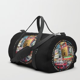 Times Square New York City (badge emblem on black) Duffle Bag